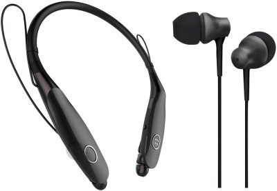 Oxhox Bluetooth Headphone With Wired Earphone Combo Pack Of 2-(BK-BLK) Bluetooth Headset(Black, Black, Wireless in the ear)