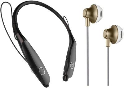 Oxhox Bluetooth Headphone With Wired Earphone Combo Pack Of 2 (BK-GLD) Bluetooth Headset(Black, Gold, Wireless in the ear)
