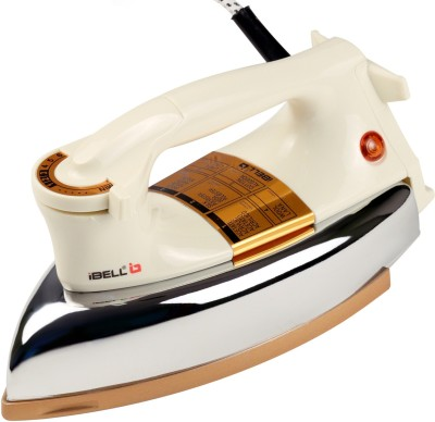 Ibell 1200 Watts Dry Iron Box with Shockproof Body, Non-Stick Base and Adjustable Thermostat Control. 1200 W Dry Iron(White)