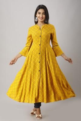 MAHAGEETA Women Checkered Flared Kurta(Yellow)