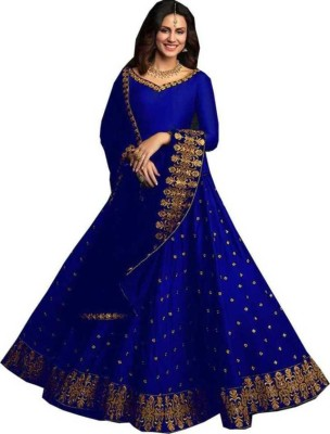 TANHAJI FAB Embroidered Semi Stitched Lehenga Choli(Blue)