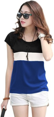Rebound Casual Regular Sleeve Color Block Women Dark Blue, White, Black Top
