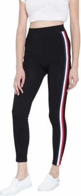 Leeko Fashion Striped Women Red, Black Tights