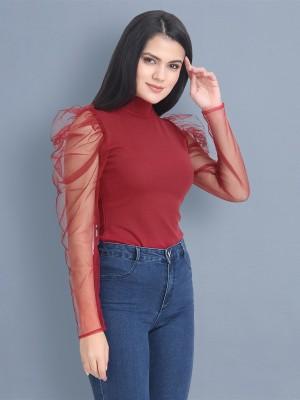 BuyNewTrend Casual Full Sleeve Solid Women Maroon Top