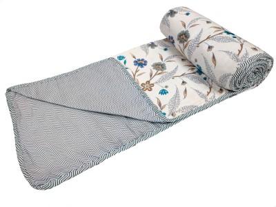 Sanvee Floral Single AC Blanket(Cotton, Blue)