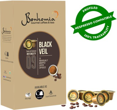 Bonhomia Black Veil | 50 Coffee Capsules Arabica | Compatible Coffee Pods | Intensity 9/10 Roast & Ground Coffee(10 x 25 g)