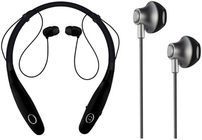 Oxhox Bluetooth Headphone With Wired Earphone Combo Pack Of 2:(BK) Bluetooth Headset(Black, Black, Wireless in the ear)