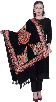 swi stylish Wool Embroidered Women Shawl(Multicolor)