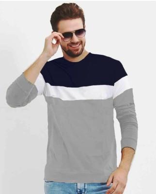 FastColors Solid Men Round Neck Dark Blue, White, Grey T-Shirt