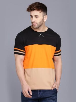 Rockhard Color Block Men Round Neck Black, Orange, Grey T-Shirt