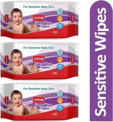 LuvLap Baby Sensitive Wipes, Fragrance Free, 72 Wipes/pack (3 Wipes)