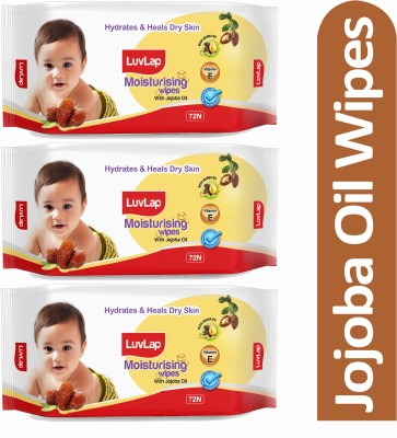 LuvLap Baby Moisturising Wipes with Jojoba Oil, 72 Wipes/pack (216 Wipes)