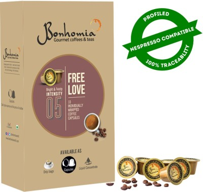 Bonhomia Free Love Coffee Pods | 20 Coffee Capsules | Arabica | Nespresso Compatible Pods | Intensity 5/10 Roast & Ground Coffee(10 x 10 g)