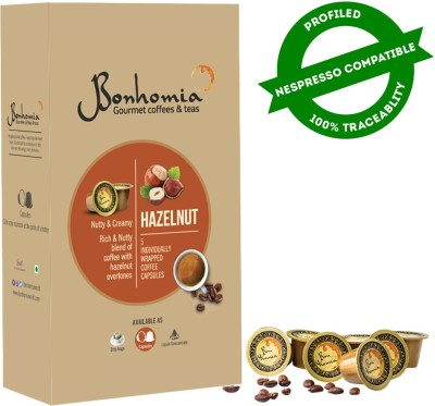 Bonhomia Artisan Hazelnut Flavoured | 50 Coffee Capsules | Nespresso Compatible Pods Roast & Ground Coffee(10 x 25 g, Hazelnut Flavoured)