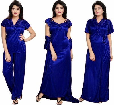 Bombshell Women Nighty with Robe(Blue)