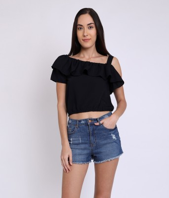 Party Ruffled Sleeve Solid Women Black Top
