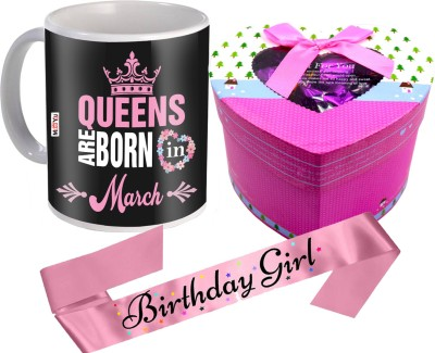 Midiron Birthday Gifts| March Queen Printed Mug | Chocolate Box | Birthday Girl Sash Ceramic, Cotton Gift Box(Multicolor)