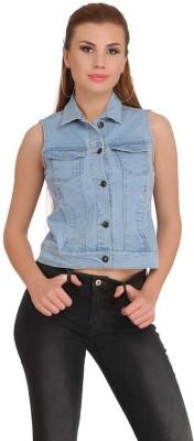TRENTON Sleeveless Solid Women Denim Jacket