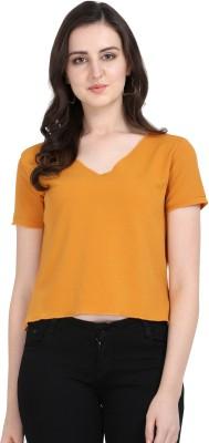 Yuvraah Casual Short Sleeve Solid Women Yellow Top Yuvraah Women's Tops