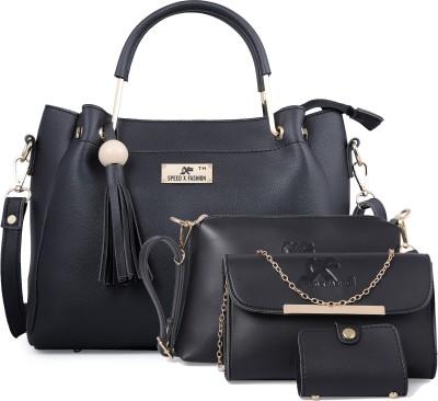 Sxf Speed X Fashion Women Black Messenger Bag(Pack of: 4)