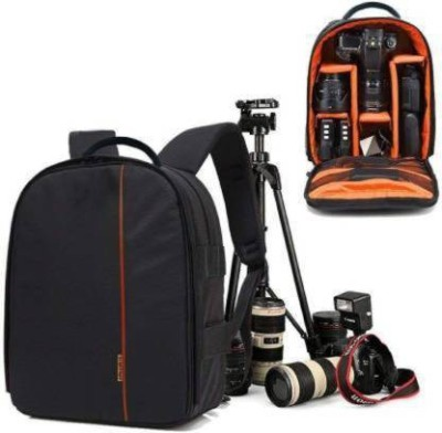 AMPLE ITALIA Shoulder Backpack to Carry DSLR SLR Lens Camera Bag (Orange, Black)  Camera Bag(Black)
