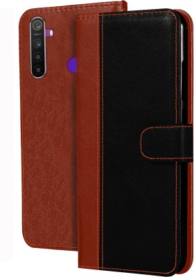 Hupshy Flip Cover for Realme 5, Realme 5s, Realme 5i(Brown, Black)