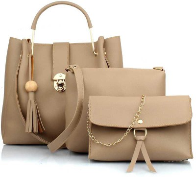 London Design Women Beige Messenger Bag(Pack of: 3)