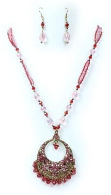 Bbl Glass Jewel Set Red, Pink, Gold Bbl Jewellery Sets