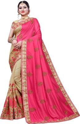 Krishna R fashion Woven Bollywood Jacquard Saree(Pink, Cream)