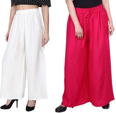 Oiskal Regular Fit Women White, Pink Trousers