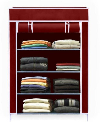 Sasimo 1-Door 4-Shelf Fabric Collapsible Carbon Steel Collapsible Wardrobe(Finish Color - Maroon, DIY(Do-It-Yourself))