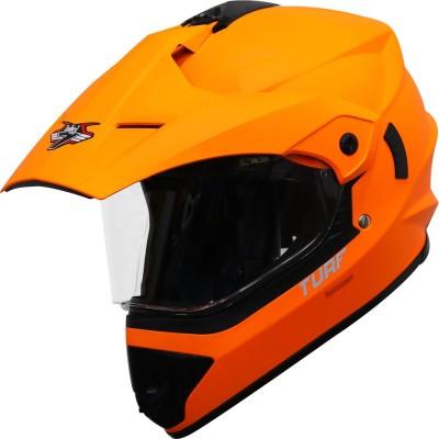 Steelbird Off Road Motocross Helmet in Matt Fluo Orange Motorbike Helmet(Glossy Fluo Orange with Clear Visor)