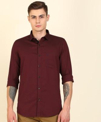 Allen Solly Men Self Design Casual Maroon Shirt