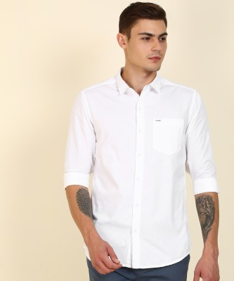 Wrangler Men Solid Casual White Shirt