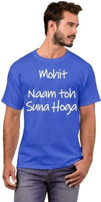 GNS Typography Men Round Neck Blue T-Shirt