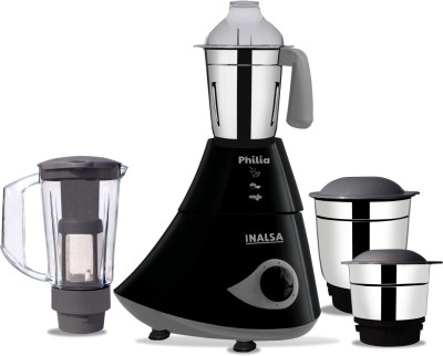 Inalsa Philia 780 W Mixer Grinder(Black, Grey, 4 Jars)