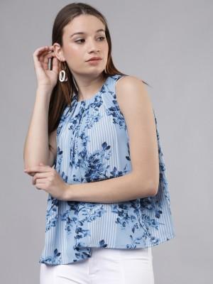 TOKYO TALKIES Casual Sleeveless Printed Women Blue Top