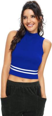 pahervesh Casual Sleeveless Solid Women Blue Top