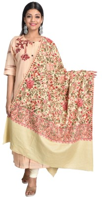SWI STYLISH Wool Embroidered Women Shawl(Beige)