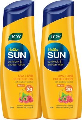 Joy Hello Sun Sunblock & Anti-Tan Lotion SPF 20 (Pack of 2 X 300 ml) - SPF 20 PA++(600 ml)