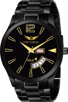 Lois Caron LCS-8446 ORIGINAL BLACK PLATED DAY & DATE FUNCTIONING Analog Watch  - For Men