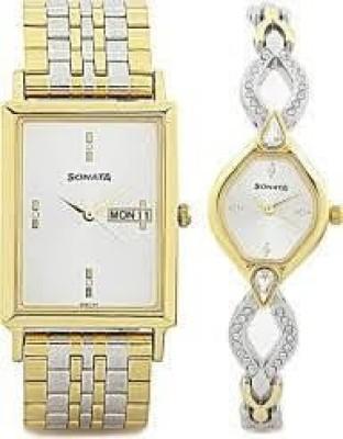 Sonata 770038063BM01C Analog Watch  - For Couple