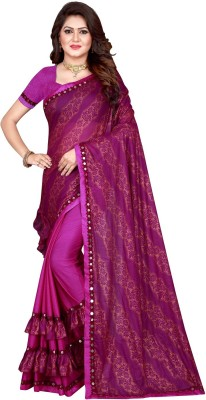 Sanskriti Designer Self Design Bollywood Lycra Blend Saree(Multicolor)