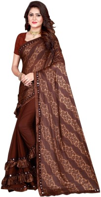 Sanskriti Designer Self Design Bollywood Lycra Blend Saree(Brown)