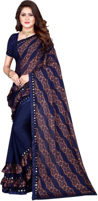 Sanskriti Designer Self Design Bollywood Lycra Blend Saree(Blue)