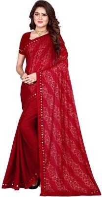 Sanskriti Designer Self Design Bollywood Lycra Blend Saree(Red)