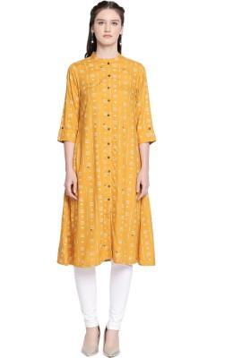 Rangmanch by Pantaloons Women Printed Asymmetric Kurta(Yellow)