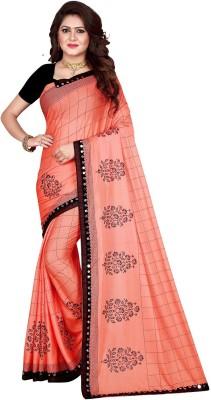 Sanskriti Designer Self Design Bollywood Silk Blend Saree(Orange)