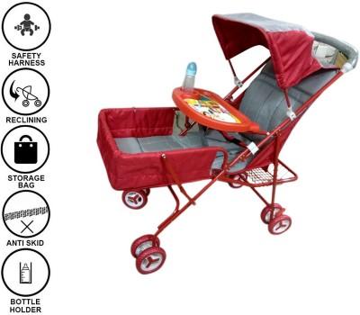 Baby Friends Pram (Buggy Stroller Cradle) With Free Baby Milk Bottle Pram (Multi, Red)