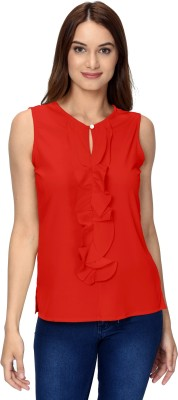 Thisbe Casual Sleeveless Solid Women Red Top